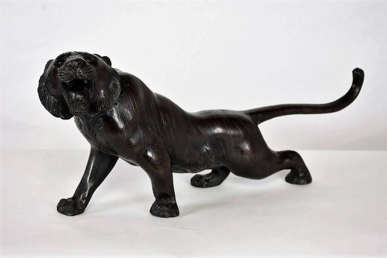 European Early 20th Century Bronze Tiger Sculpture For Sale
