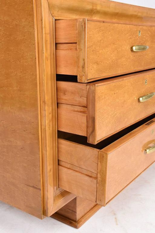 Brass Mid-Century Modern Birch Wood Chest of Drawers For Sale
