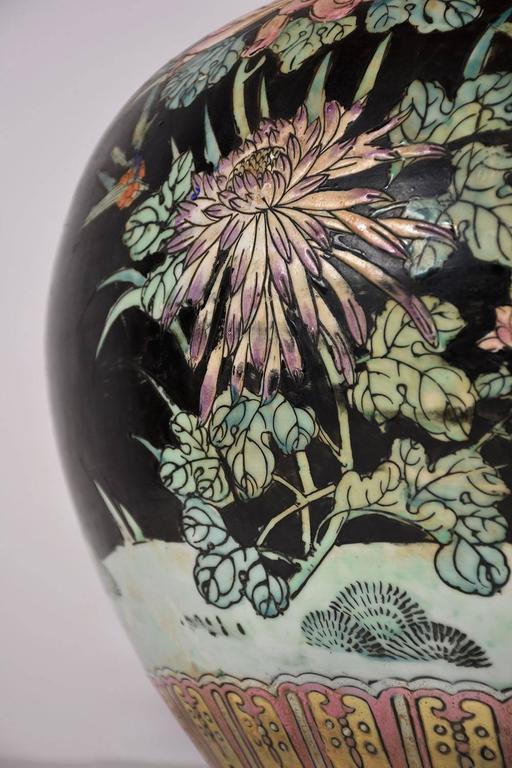 Painted Large Oriental Porcelain Vase For Sale