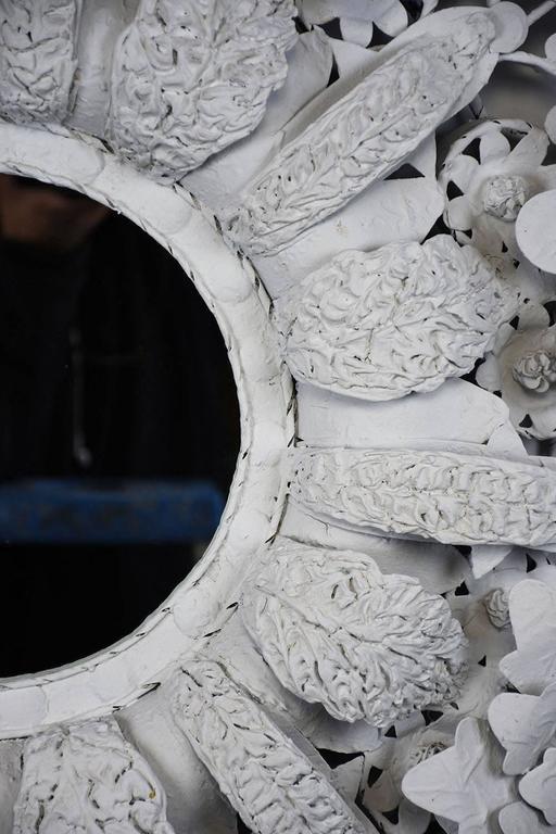 Rococo  Arte de Mexico Painted Floral Tole Mirror For Sale