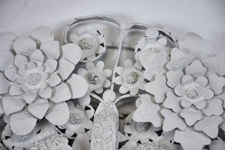Arte de Mexico Painted Floral Tole Mirror In Excellent Condition For Sale In Los Angeles, CA