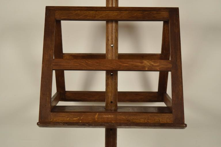 Carved Antique French Solid Oak Wood Duet Music Stand For Sale