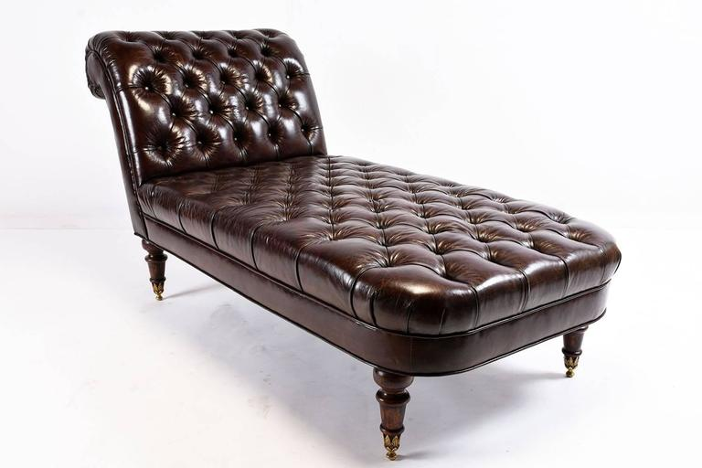 Vintage tufted leather chesterfield style chaise longue for Antique chaise longue for sale