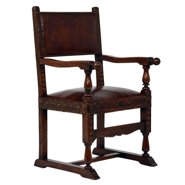 Set of eight antique italian baroque style leather dining for Baroque style dining chairs
