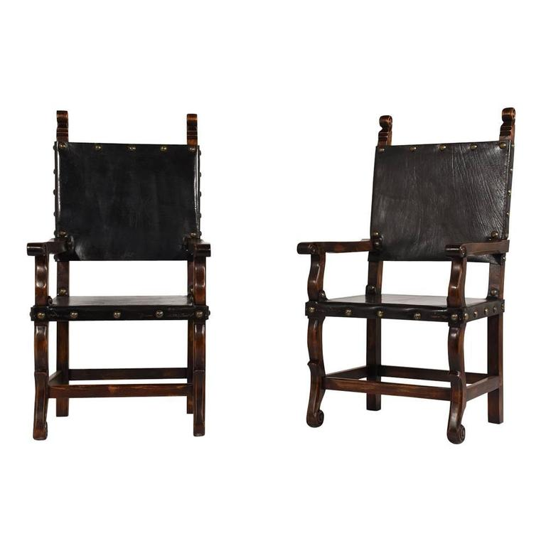 Set of 14 Spanish Colonial Style Dining Chairs For Sale at ...