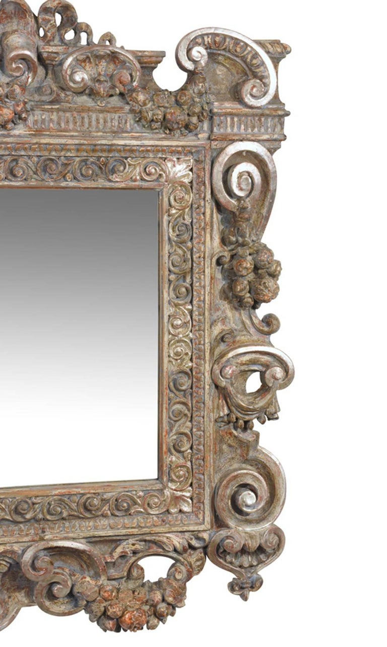 19th century grand baroque style carved frame wall mirror for Baroque style wall mirror