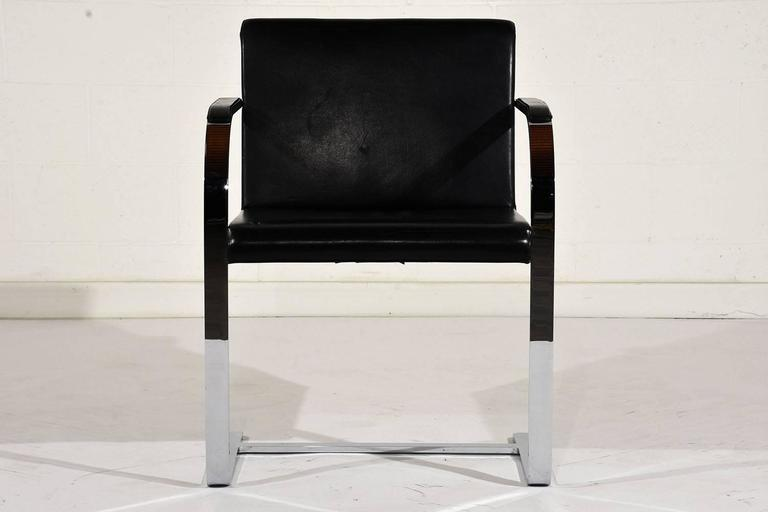 Chrome Pair of Mid-Century Modern Mies Van Der Rohe Flat Bar Brno Chairs For Sale