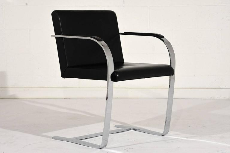 Pair of Mid-Century Modern Mies Van Der Rohe Flat Bar Brno Chairs For Sale 1