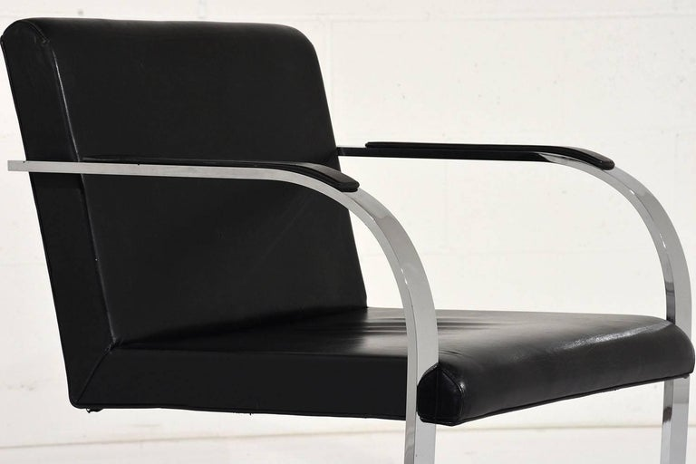Pair of Mid-Century Modern Mies Van Der Rohe Flat Bar Brno Chairs For Sale 4