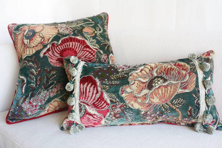 Single Botanical Pattern Throw Pillow For Sale 2