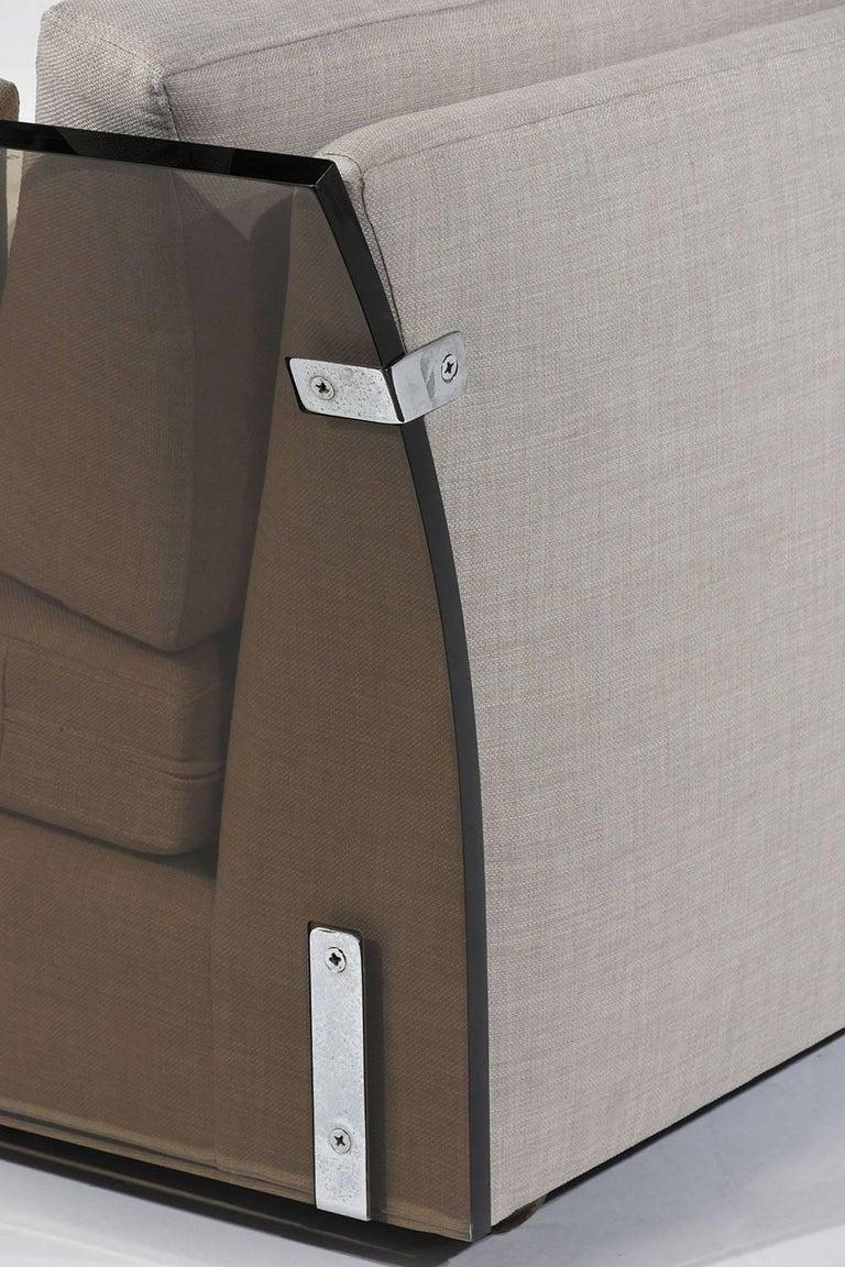 Wood Mid-Century Modern Milo Baughman Lucite Side Sofa For Sale