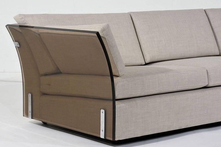 American Mid-Century Modern Milo Baughman Lucite Side Sofa For Sale