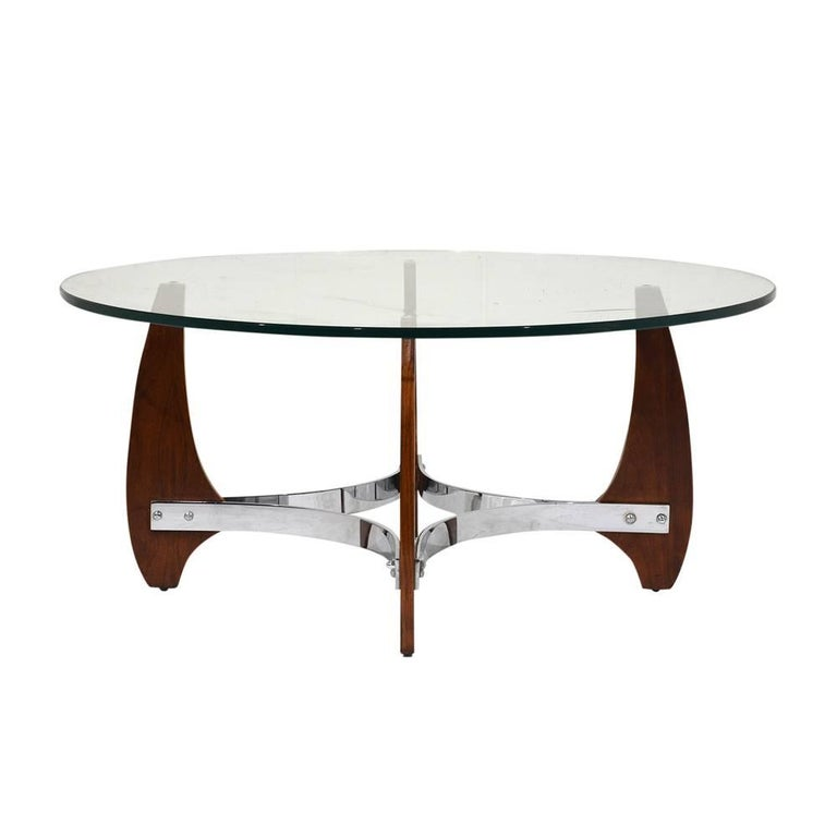 Modern Wood And Chrome Coffee Table For Sale At 1stdibs