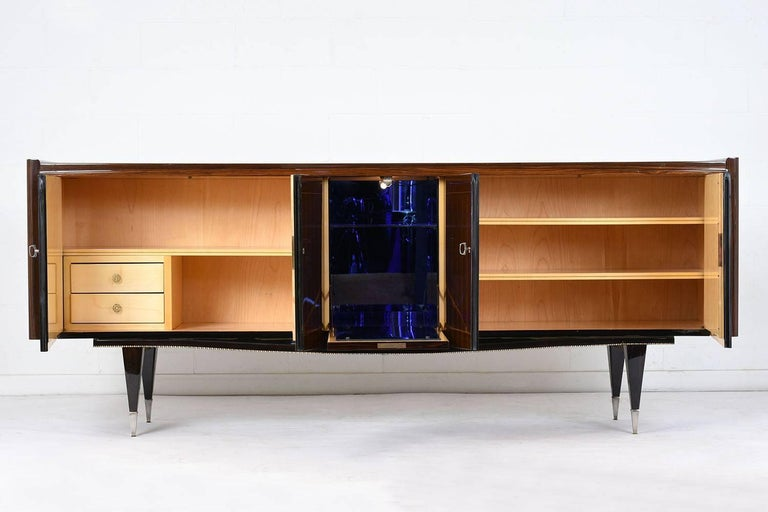 Mid-Century Modern French Art Deco Macassar Ebony Buffet with Center Dry Bar For Sale