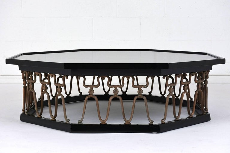 Carved Octagonal Hollywood Regency-Style Lacquered Coffee Table For Sale