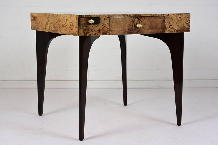 Modern style burl wood veneer game table by aldo tura for for Contemporary game table and chairs