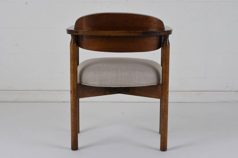 Carved Set of Six Midcentury Dining Chairs For Sale
