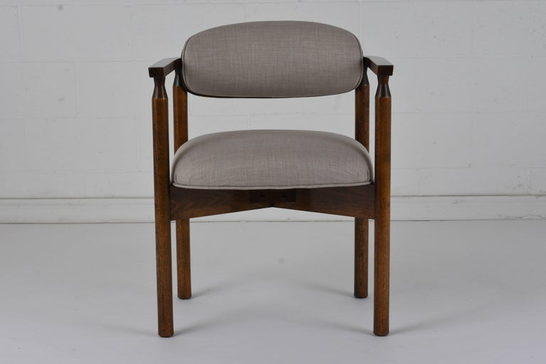Fabric Set of Six Midcentury Dining Chairs For Sale