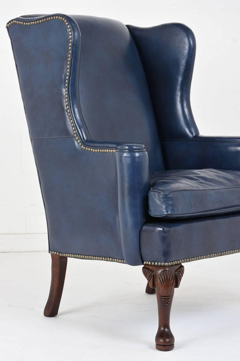 Regency style wingback leather chair for sale at stdibs