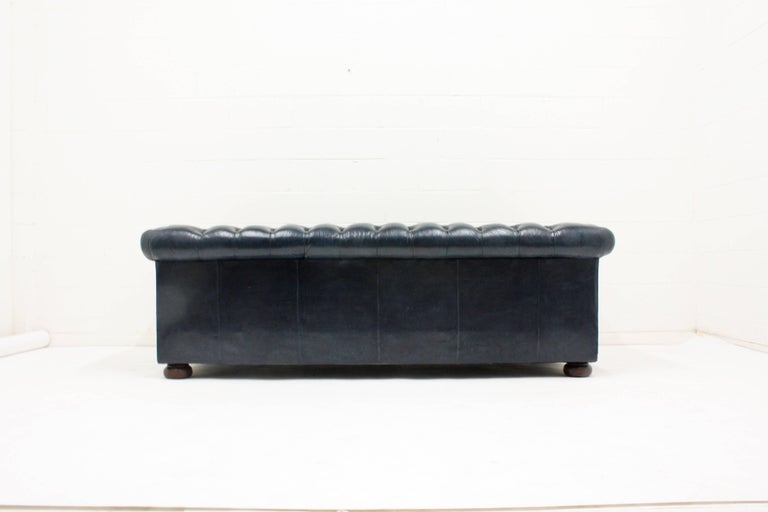 Carved Chesterfield-Style Leather Sofa For Sale