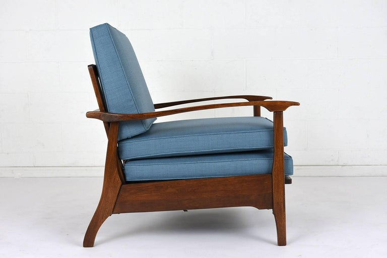 Fabric Mid-Century Modern Reclining Lounge Chair For Sale