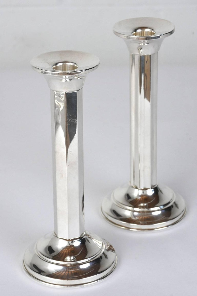 Pair of Art Deco Sterling Silver Candleholders In Excellent Condition For Sale In Los Angeles, CA