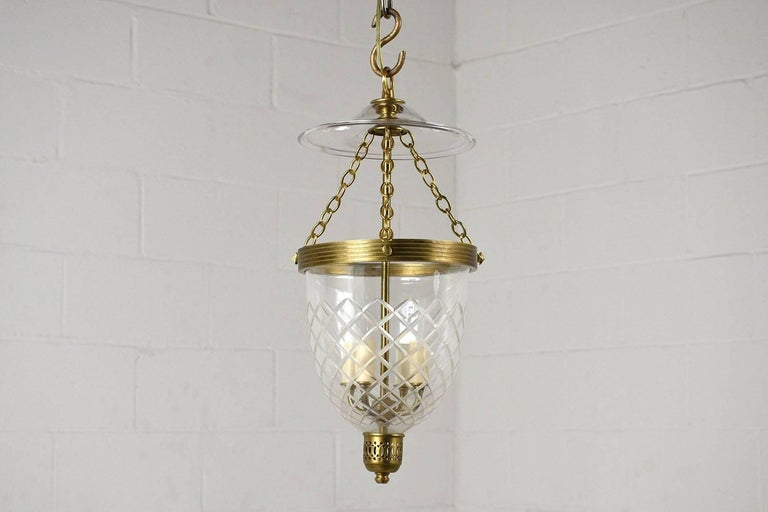 Etched Contemporary Regency-Style Pendant Light For Sale