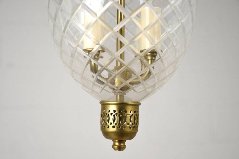 Glass Contemporary Regency-Style Pendant Light For Sale