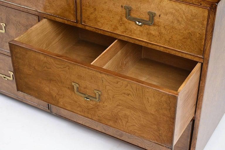 Brass John Widdicomb Nine-Drawer Chest For Sale