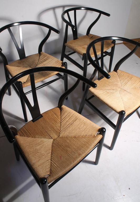 authentic set of four vintage hans wegner wishbone chairs ch24 signed at 1stdibs. Black Bedroom Furniture Sets. Home Design Ideas