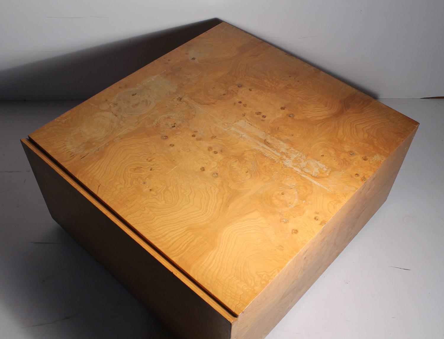 Superb img of  Burl Wood Coffee Table on Castors with Large Drawer / End at 1stdibs with #BD700E color and 1500x1144 pixels