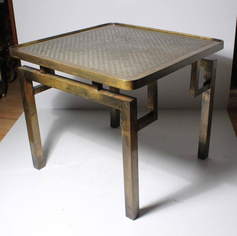 Architectural Brass Philip and Kelvin LaVerne Side Table In Good Condition For Sale In Chicago, IL