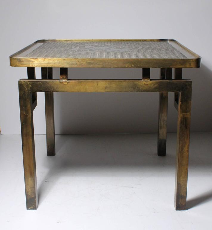 20th Century Architectural Brass Philip and Kelvin LaVerne Side Table For Sale