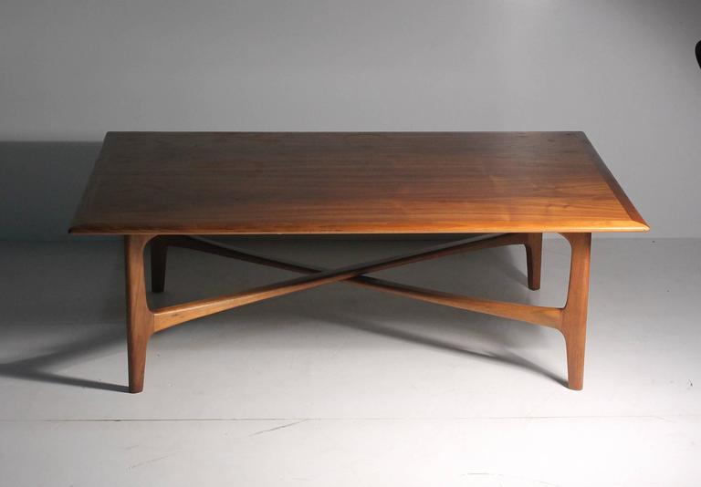 Mid-Century Modern Danish Modern DUX Folke Ohlsson Coffee Table with X-Stretcher For Sale