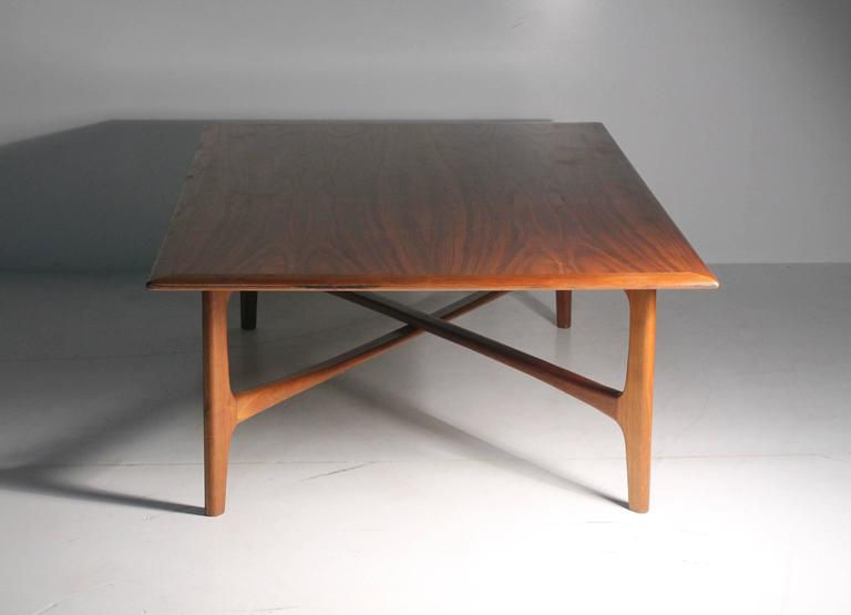 Danish Modern DUX Folke Ohlsson Coffee Table with X-Stretcher For Sale 1