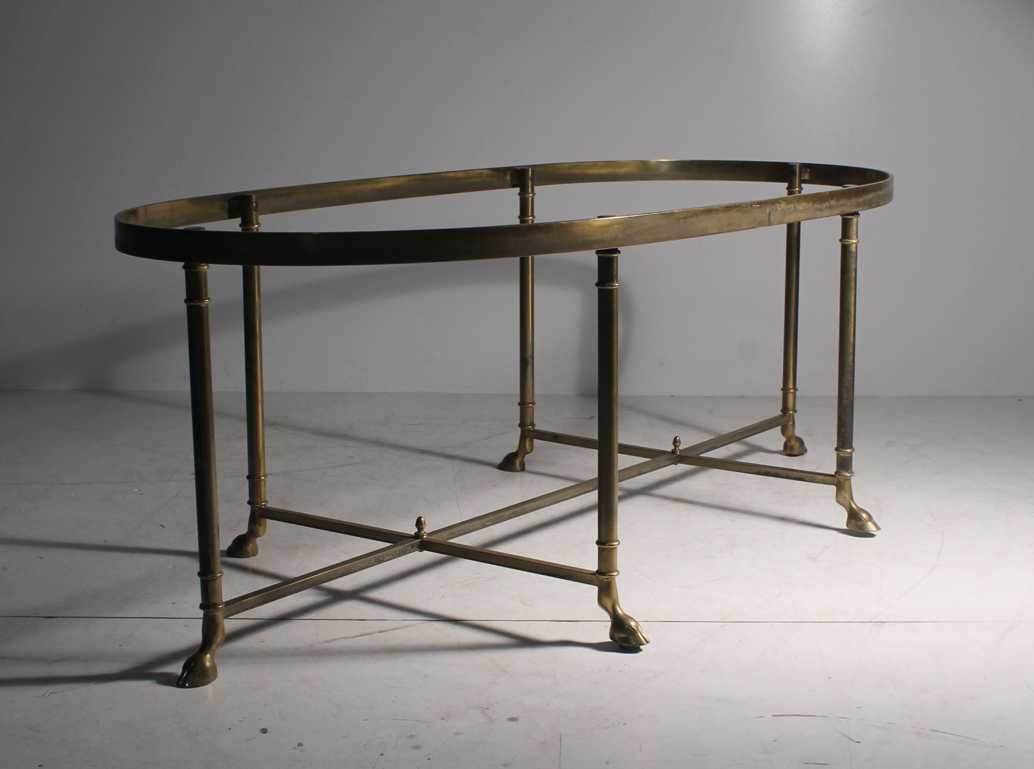 Vintage Brass Oval La Barge Hollywood Regency Six Leg Hoof Coffee Table At 1stdibs