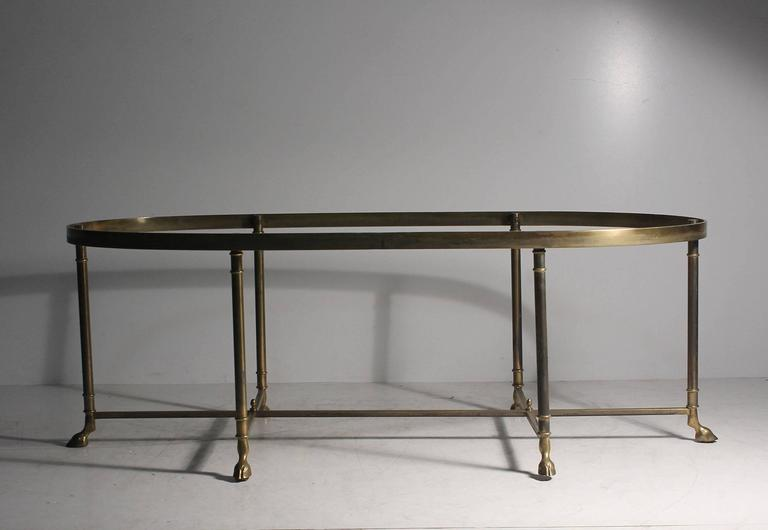Vintage Brass Oval La Barge Hollywood Regency Six Leg/Hoof Coffee Table 2