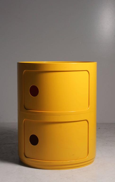 Pair Of Anna Castelli Kartell Yellow Plastic Stacking Storage Nightstands Or End Tables These Can