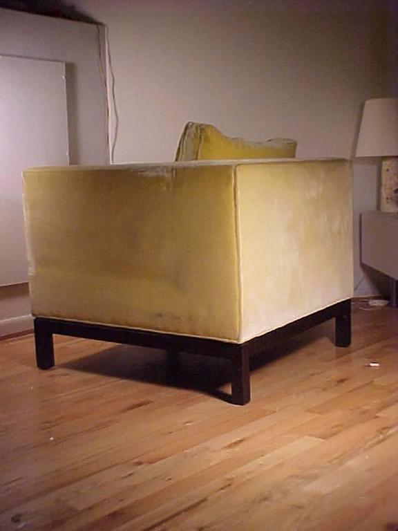 American Edward Wormley Dunbar Yellow Upholstered Cube Club Chairs For Sale