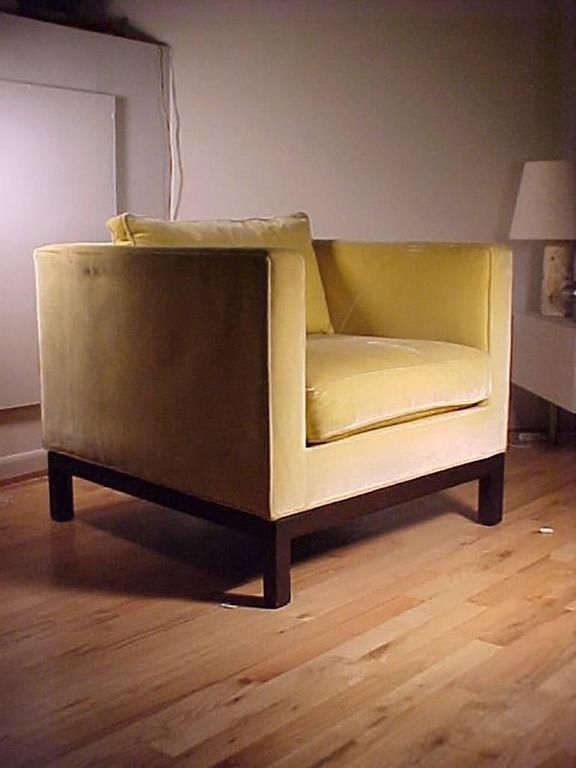 A really great matched set of wormley cube chairs in all original upholstery. Signed Dunbar on upholstery as shown.  Upholstrey shows some wear, but I believe good to use as-is with maybe just a cleaning. Very soft luxurious fabric. In a great lemon