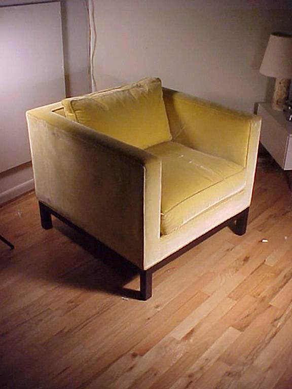 Mid-Century Modern Edward Wormley Dunbar Yellow Upholstered Cube Club Chairs For Sale