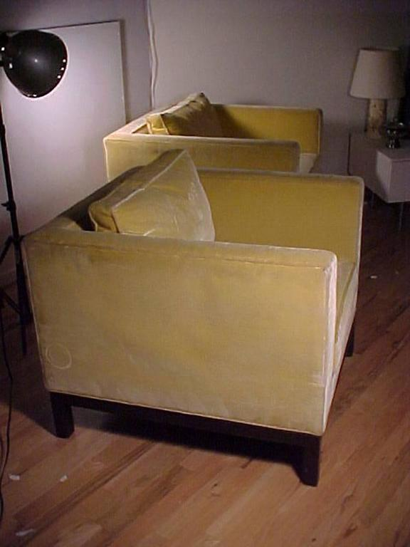 Edward Wormley Dunbar Yellow Upholstered Cube Club Chairs For Sale 2