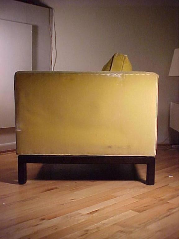 Edward Wormley Dunbar Yellow Upholstered Cube Club Chairs For Sale 1