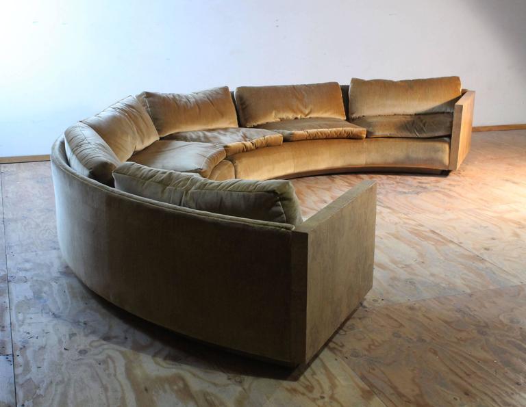 Vintage Milo Baughman Burled Curve Circle Sofa And Coffee