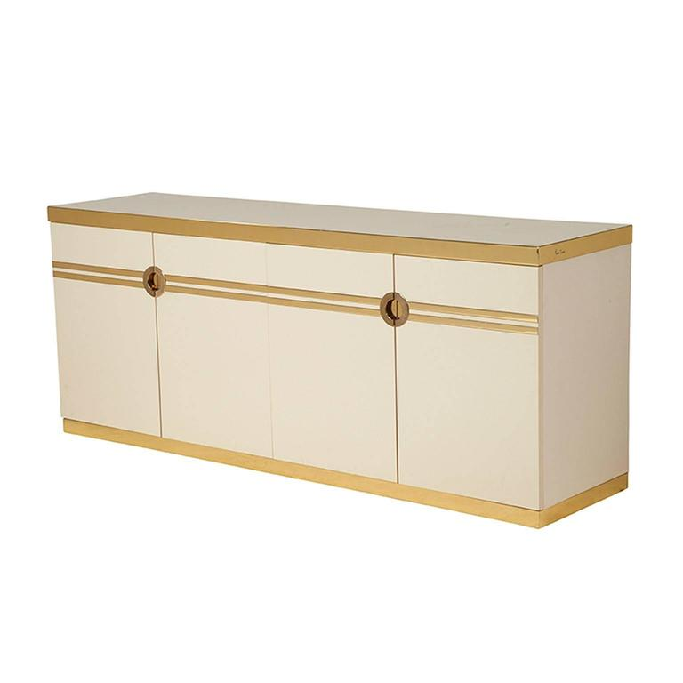 Pierre Cardin Cabinet Sideboard Credenza In Ivory And Brass For Sale