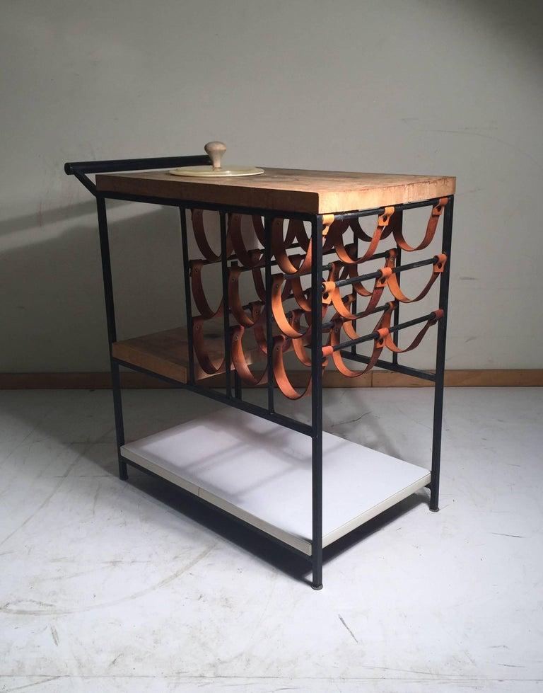 Mid Century Modern Arthur Umanoff Bar Cart With Wine Rack And Butcher Block For