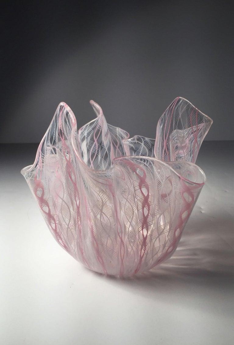 Mid-Century Modern Signed Venini Fazzoletto Handkerchief Glass Vase by Fulvio Bianconi For Sale