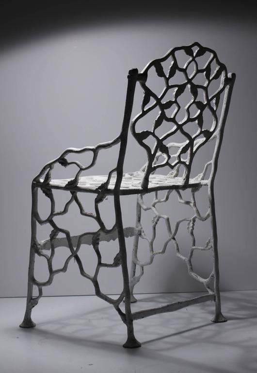 Victorian Rare Petite Cottage Faux Bois Cast Iron Garden Chair By Fiske