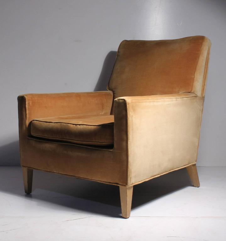 Vintage Robsjohn-Gibbings lounge chair for Widdicomb. Beautiful proportions. A more uncommon deep lounge form.  Will confirm these dimensions.