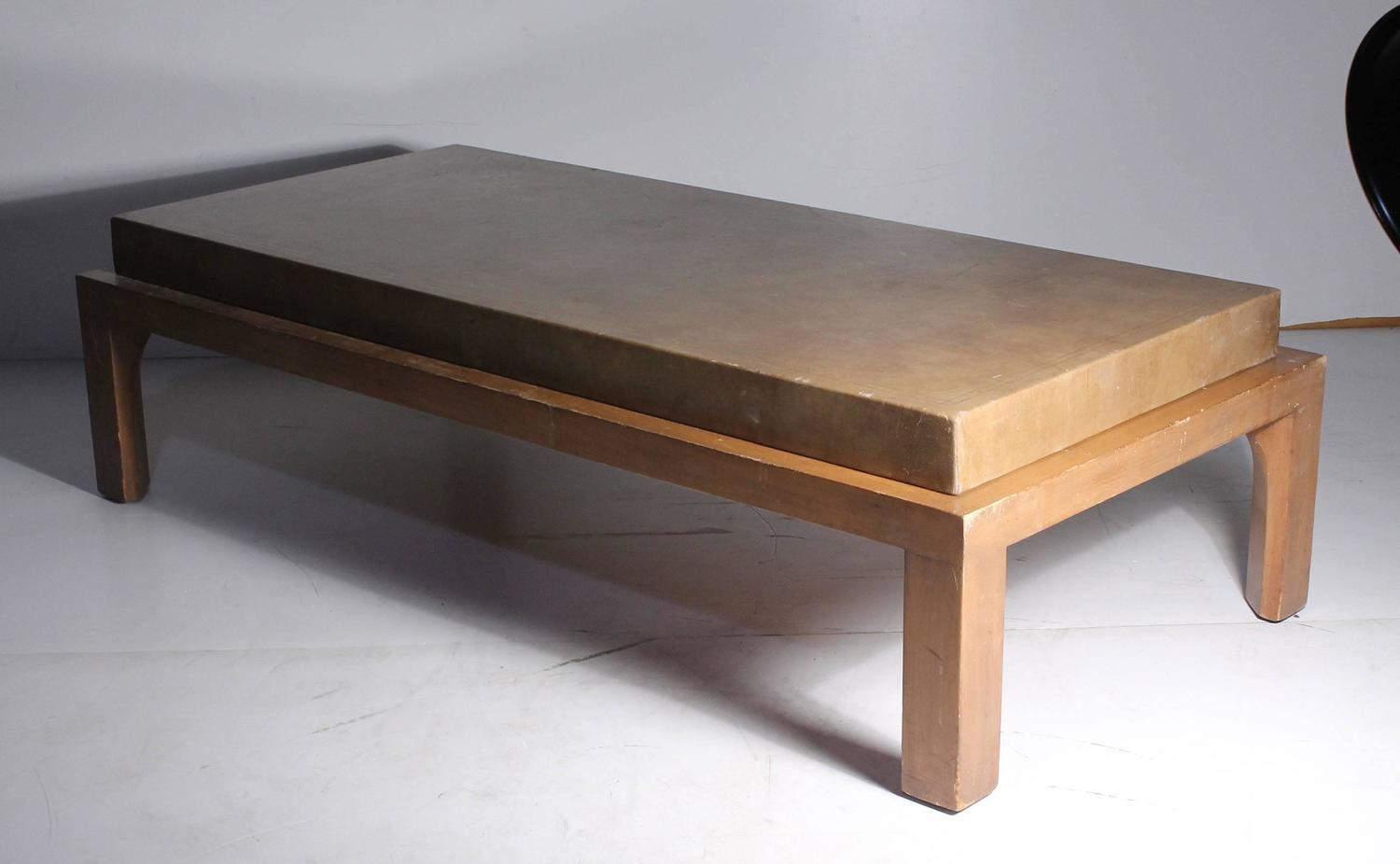 Vintage Leather Wrapped Coffee Table In Manner Of Tommi Parzinger For Sale At 1stdibs